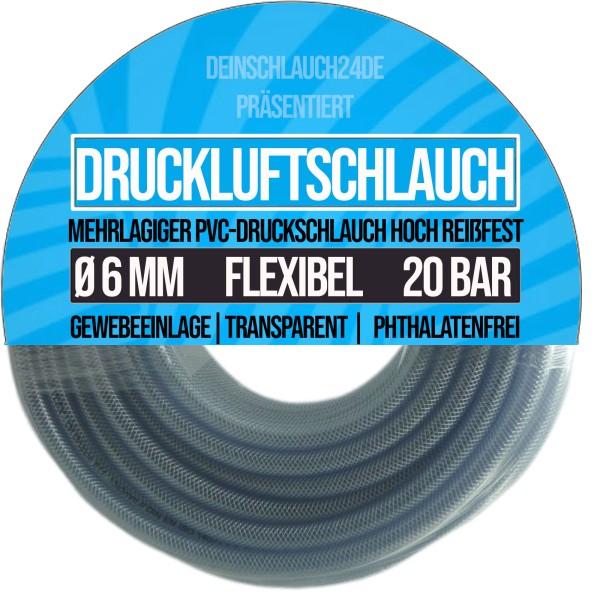 6 x 12 mm Druckluftschlauch Gewebeschlauch Universalschlauch Wasserschlauch PVC